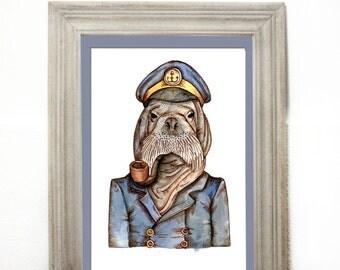 Wall art, print, art print, nautical, captain