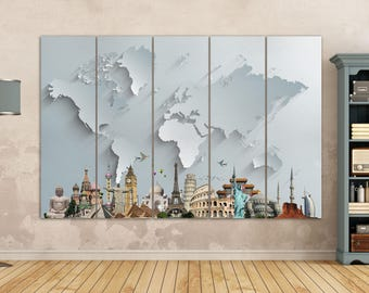 World Map With Monuments Leather Print/Large World Map/Silver World Map/Gold World Map/Multi Pieces World Map/Better than Canvas!