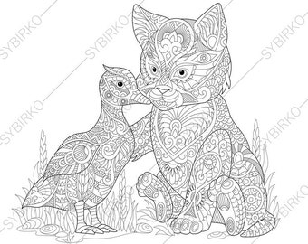 cat and duck adult coloring book page zentangle doodle coloring pages for adults digital illustration instant download print - Dachshund Coloring Pages Print