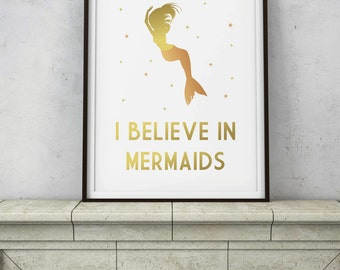 I Believe in Mermaids Quote - Rose Gold Copper Wall Decor - Aquatic Legend Mystical Gold Sparkles - Printable Digital INSTANT DOWNLOAD