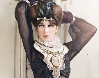 Statement Headpiece, Feather Headpiece, Ornate Feather Fascinator, Feather Costume Headpiece, Alternative Bridal Headpiece, Party Headpiece