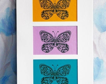 Butterfly Applique Applique picture Collage Butterfly picture Original butterfly art Butterfly wall hanging Art picture gift