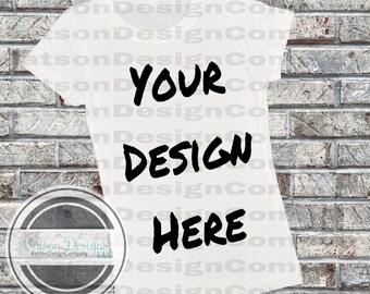 White Short Sleeve Shirt Mockup Instant Download | T-shirt Top Mock-up Light Brick Background JPEG File | Commercial Use