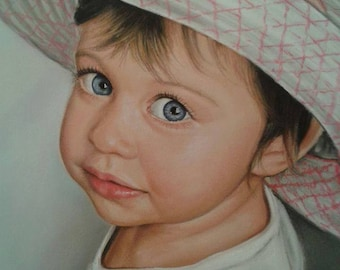 Children Painting from photo . Portrait painting child - Baby Custom Portrait