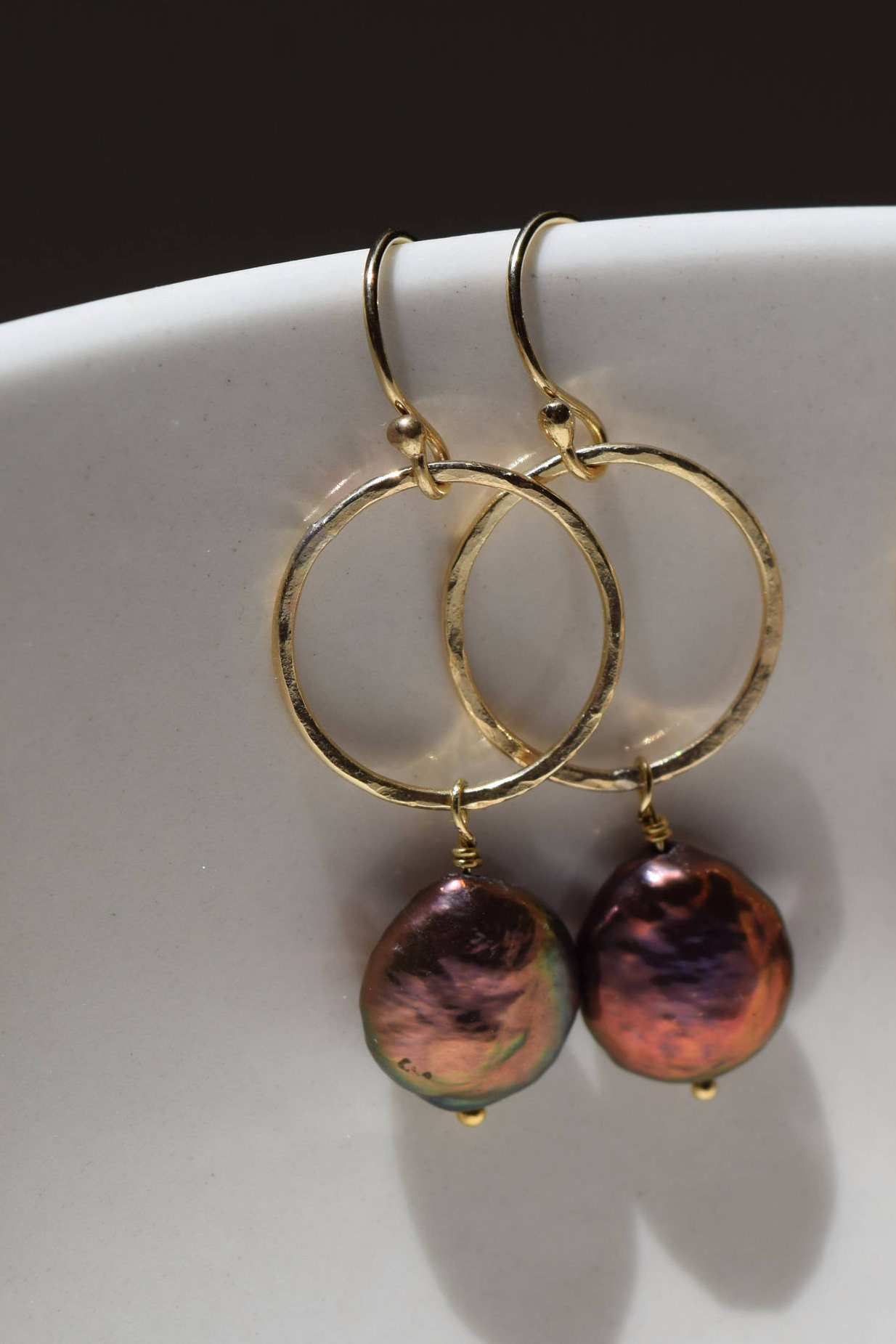 Genuine Freshwater Peacock Coin Pearls Hang  From 12 Kt Gold Fill Hand Hammered Rings, 14 Kt Gold Fill Earwires
