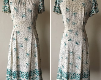 RESERVED Late 1930s Green and White Dress
