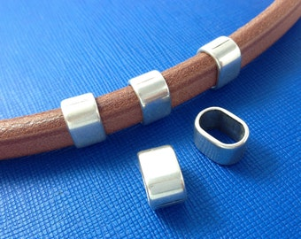 European slider for licorice leather - Licorice leather findings, spacer - Antique silver plated zamak beads to make bracelets, necklaces