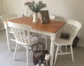 Farmhouse Table And Chairs NOW SOLD ! Shabby Chic Kitchen Dining Table Set Dinning Room Table Set Painted Furniture Country Farmhouse