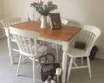 Farmhouse Table And Chairs Shabby Chic Kitchen Dining Table Set Farmhouse Pine Kitchen Table And 4 Painted Farmhouse Chairs *Made To Order*