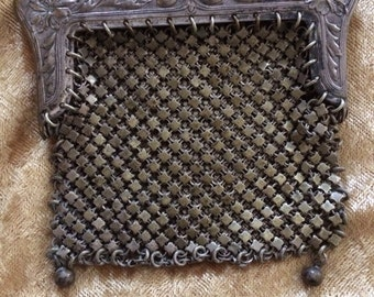 Coin purse - 1920's Silver Mesh with Chain