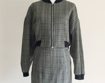 80's VIntage Ann Taylor Plaid Short Bomber Jacket and Skirt Suit