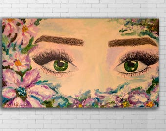 Eyes Abstract Painting,Flower Frame painting,Custom painting,Custom Wall Art,Fairy  Eyes, SPA art,Office Art,Canvas painting,Home wall art