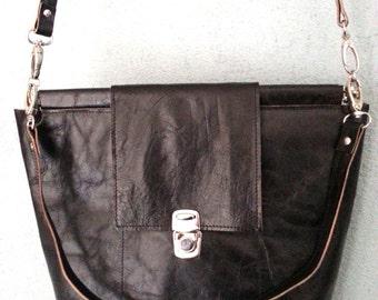 goat leather, shoulder bag, cross body, black, gift for women