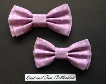 Bow Tie, Dad and Son Bow Ties, Lavender Bow Tie,Father Son Bow Ties,Mens Bow Tie, Groomsmen Bow Tie,Ring Bearer Bow Tie, Boys Bow Tie  DS673