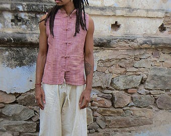 Men's Kadhi Top Vest with Chinese Buttons Purple