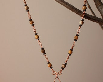 Fossil Coral, Picture Jasper  and Hematite Beaded Necklace