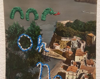 Embroidered Postcard with Sea Monster