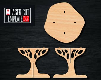 Plywood table in the form of a tree.cnc router plans. woodworking plans. cnc dxf files. Cnc file.  laser cut file.  laser cut plans