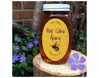 Honey, Raw Honey, 1/2 pound, Wildflower Honey, North Carolina Honey, Really Raw Honey, NC Honey - 8 Oz Glass Jar Or Plastic Bottle