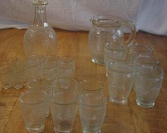 Glassware complete art Spanish thick glass deco 20's