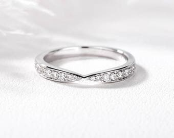 Diamond Wedding band White Gold Stacking matching ring Half eternity everyday rings Pave Chevron Anniversary gift for women Anniversary