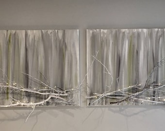 Modern Clean Organic Painting with Branches - Customizable 75.00 for each 26 by 40 . Price depends on size.