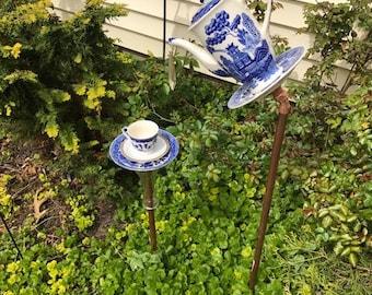 Delft blue teacup bird feeder