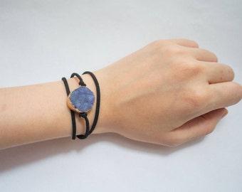 Blue Druzy Black Suede Wrap Bracelet