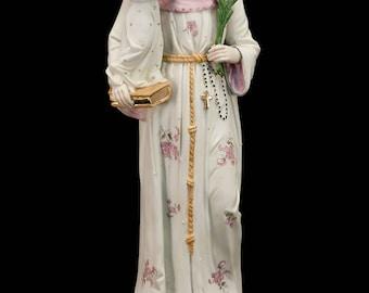 "15"" Large Antique Saint Anthony of Padua Child Jesus Bisque Porcelain Figurine Vintage Baby Jesus Delightful Infant Figure 3"