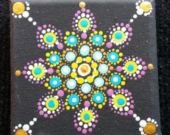 Acrylic Hand Painted Mandala on Canvas