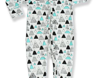 Baby Boys Girls Pajammie Zipsuit Mountain Peaks Bamboo Organic Cotton Footed Footie Pajamas PJs Sleeper Onesie Romper