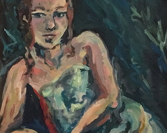 Au repos Seated expressionist acrylic figure study