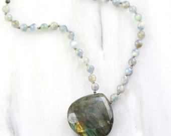 Knotted Kyanite and Labradorite Pendant Oxidized Silver Necklace