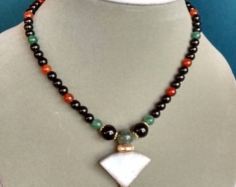 Onyx and Carnelian Gold Choker Necklace - Free Shipping