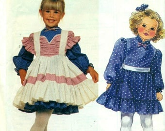 McCall's 3398 ENCHANTED FOREST Toddler Party Dress & Pinafore Sizes 2, 3, 4  ©1987