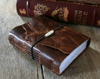 """Leather Journal """"I am the master of my fate, I am the captain of my soul"""" -William Ernest Henley . handbound handmade . dark brown (320pg)"""