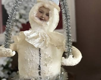 Lovely Vintage Victorian Girl Standing Atop A Snowball w/Tinsel Trim & Crepe Paper Christmas/Winter Decoration Shabby Chic
