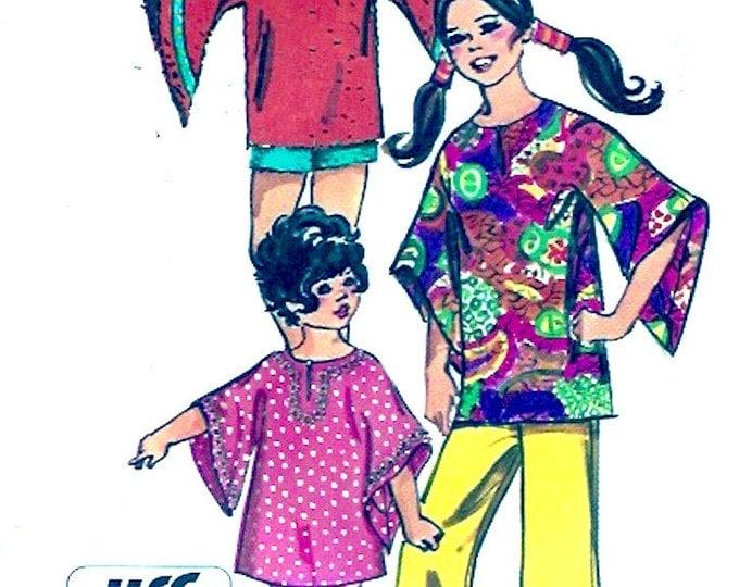 70s Boho Hippie Preteen tween girls Bell sleeve Top pants shorts dress Sewing pattern Simplicity 9343 size 14 Vintage UNCUT