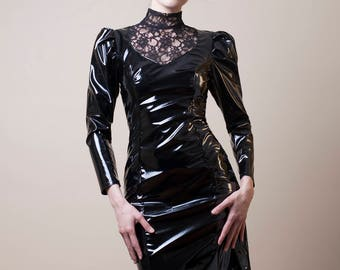 Black PVC & Lace Pencil Dress-Made to Measure (Your Size)