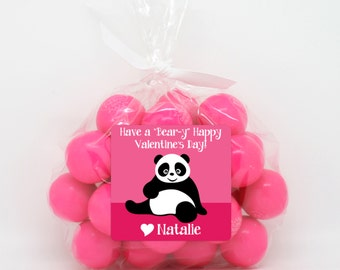Valentine Stickers, Panda Bear Valentine Class Gift Stickers, Favor Stickers, Panda Bear Valentine, Beary Sweet for Favors, Treat Bags
