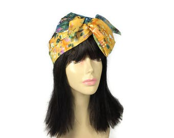 Cotton Batik Head Scarf Cotton Batik Hair Scarf Cotton Hair Scarves  Mustard Blue Yellow Head Scarf Big Bow Head Scarf Hair Wraps Headbands