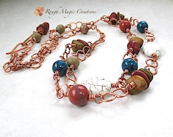 MultiStrand Necklace, Earthy Stones, Beaded Copper Chain, Boho Jewelry, Southwestern Color Gemstones, Multicolor Adjustable Choker N206