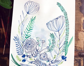 Original watercolor and ink painting on paper Joy No1 artwork by Paula Mills