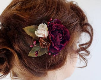 burgundy hair flower, bridesmaid hair accessories, wine wedding, dark red hairpiece, wine red flower, rustic wedding, floral hair clip