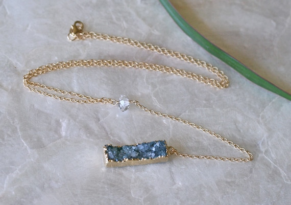 Druzy Necklace, Herkimer Diamond Necklace, Y Necklace, Gold Dipped Druzy, Blue Druzy Necklace, Long Druzy Necklace, Herkimer Diamond Jewelry