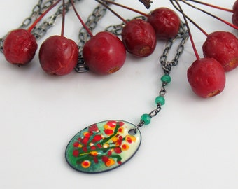 Bright Flowers Landscape Pendant, Enameled Copper Original, Red Yellow Green Expressionist Design, Inspired by Nature, Kiln-fired Enamel