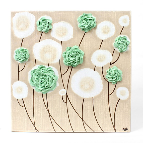 Canvas Art Decor Textured Roses Flower Painting - Mint Green and Khaki - Select a Size