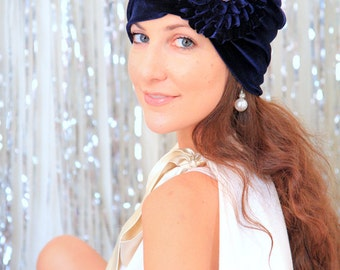 Turban with Flower - Navy Blue Velvet Headwrap in - Women's Bohemian Style Hair Wrap - 24 Colors