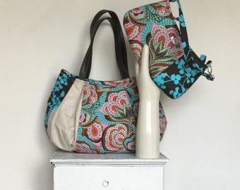 "Pretty Bag Fabric Daiper Bag Colorful Summer Bag Teal Purse Large Summer Bag Large Hobo Amy Butler Fabric Bag Tote ""OCEAN BREEZE"" jennjohn"
