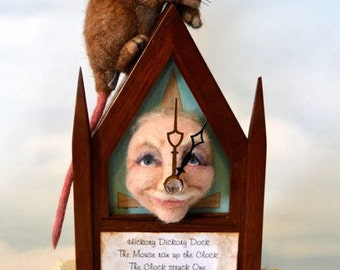 Hickory Dickory Dock Mouse Realistic Life Size Tan Alpaca & Camel Needle Felted Vintage Wooden Steeple Clock Felted Face w  Nursery Rhyme